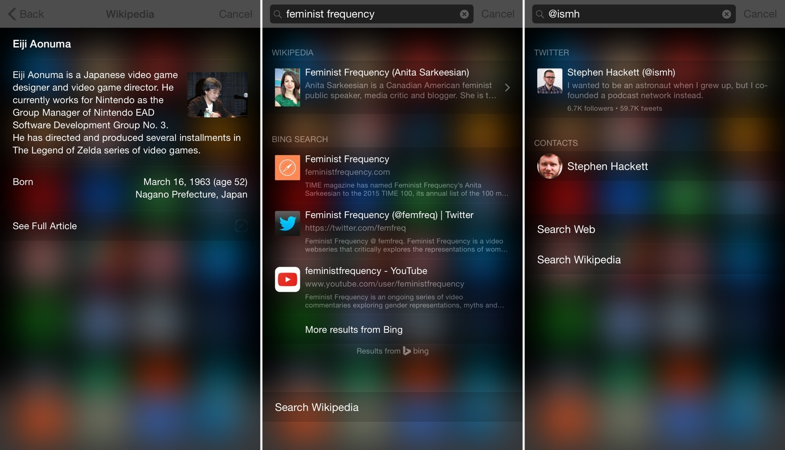 Examples of Spotlight results in iOS 8.4.