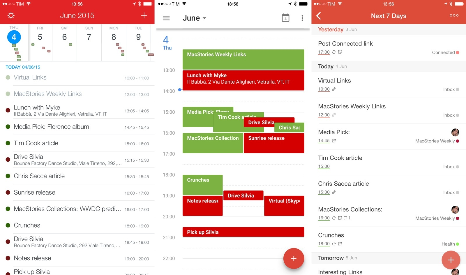 Todoist tasks as calendar events in Fantastical and Google Calendar.