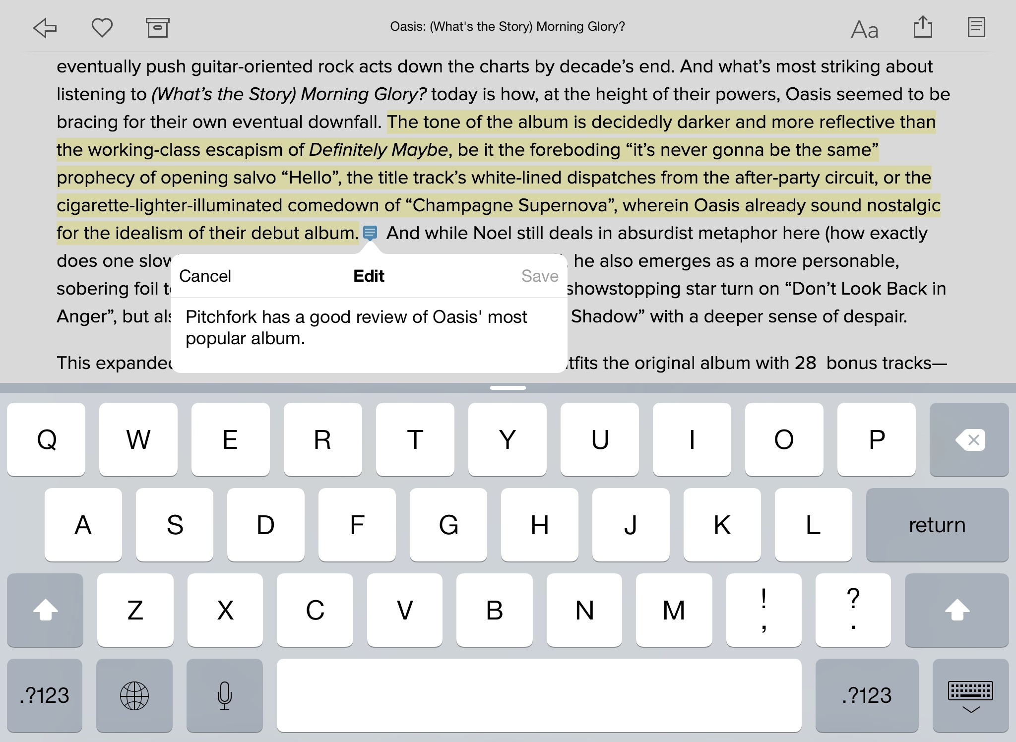 Adding a note in Instapaper.