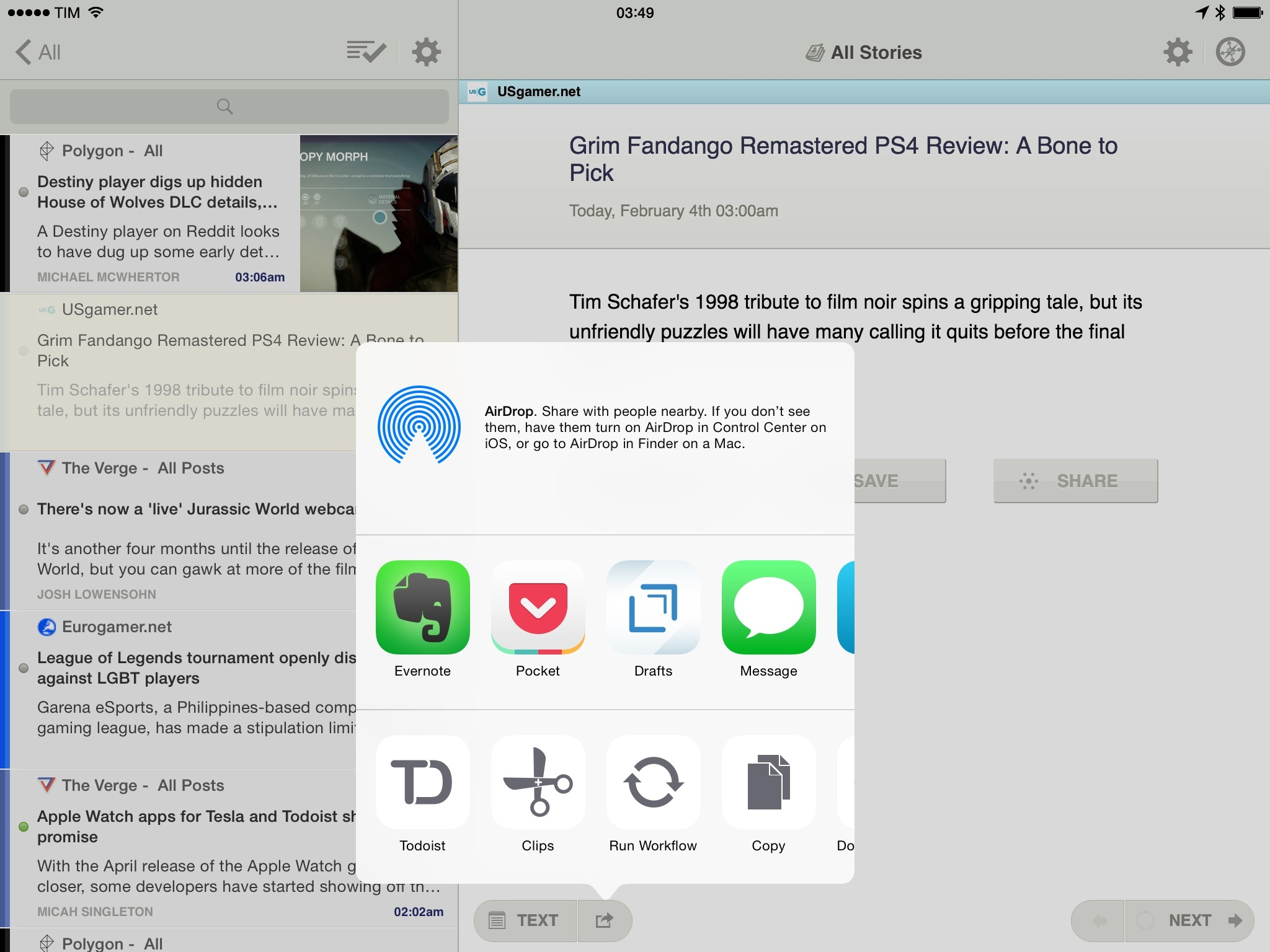 An iOS 8 share sheet in NewsBlur.