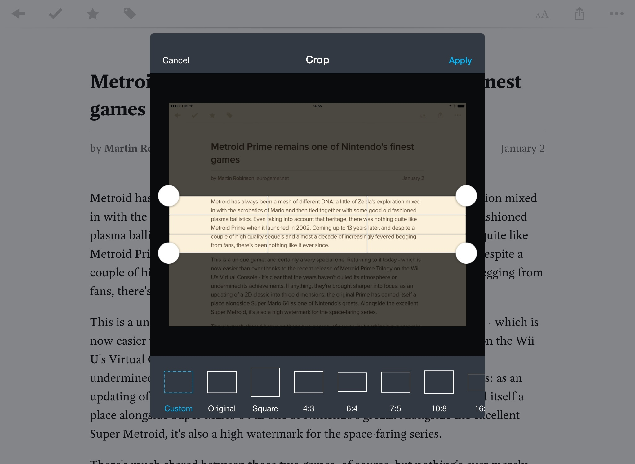 Cropping a textshot in Pocket with Workflow.