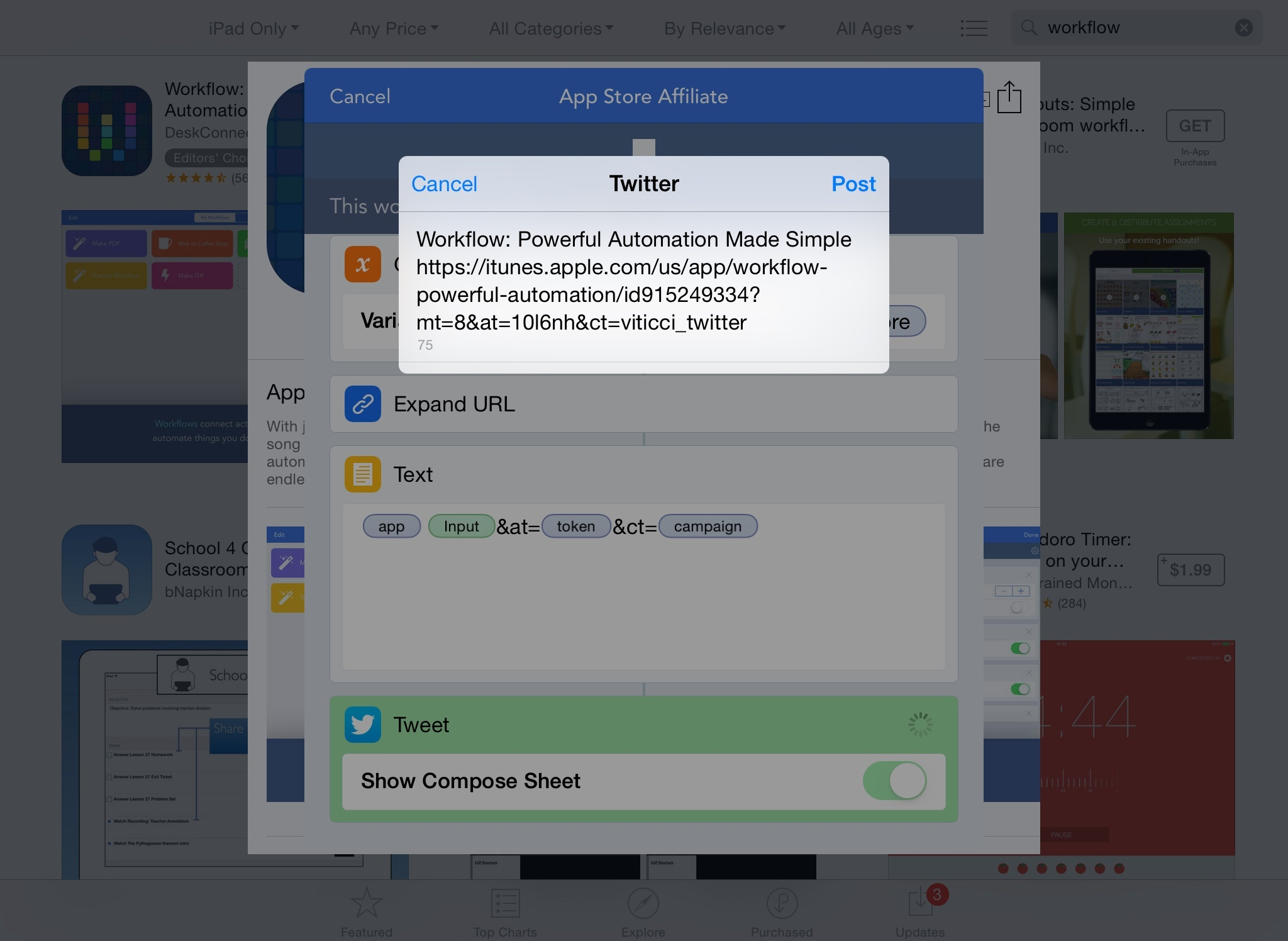 Tweeting an affiliate link from the App Store with Workflow.