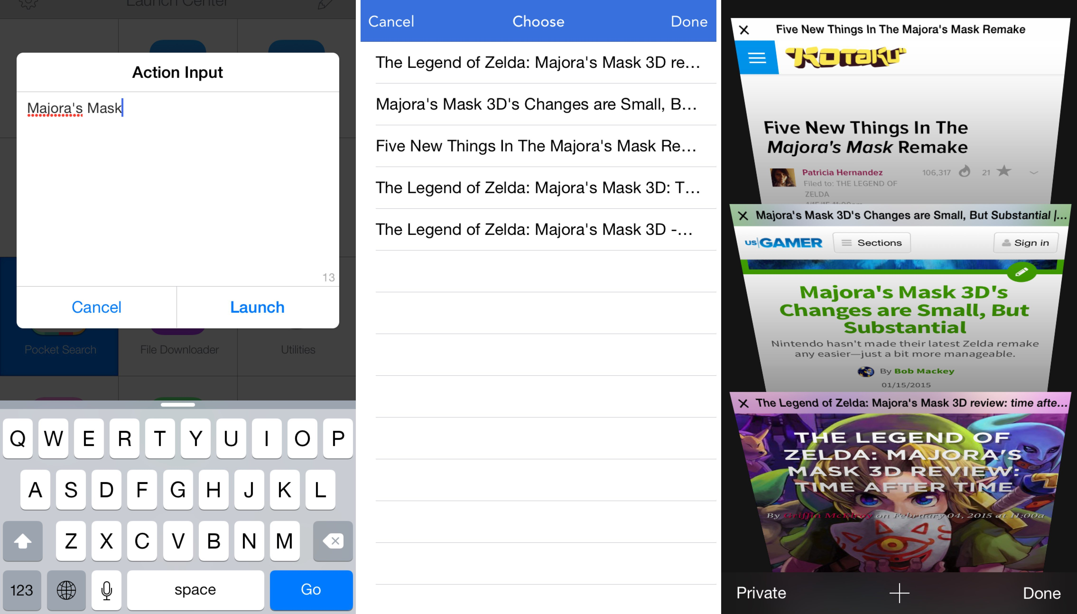 Searching for an article from Launch Center Pro and opening multiple results in Safari at once.