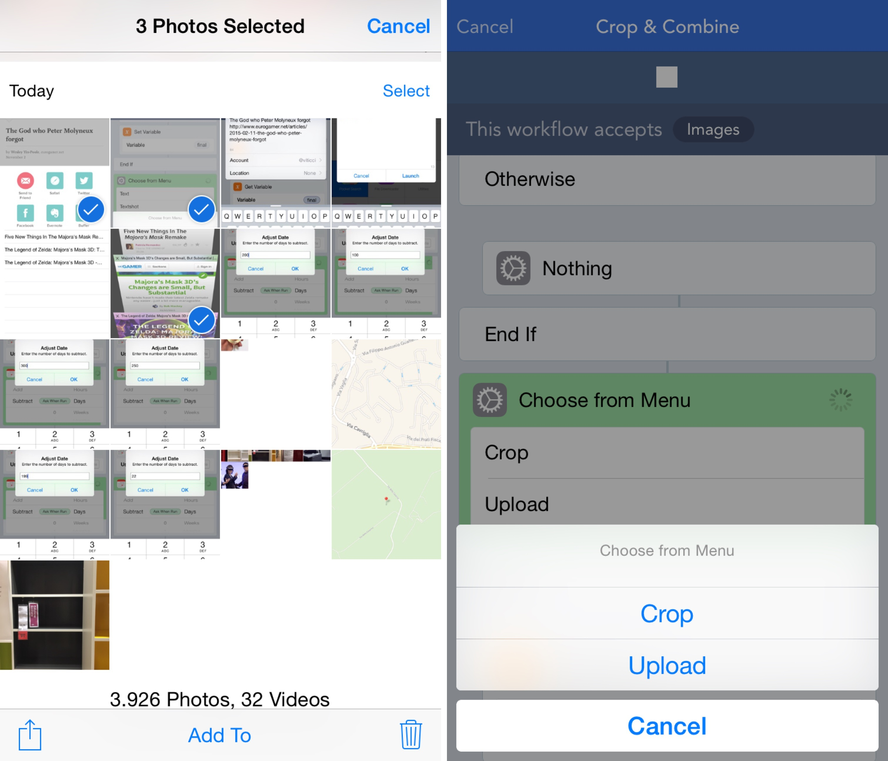 I can now crop and combined screenshots directly from the Photos app with extensions and Workflow.