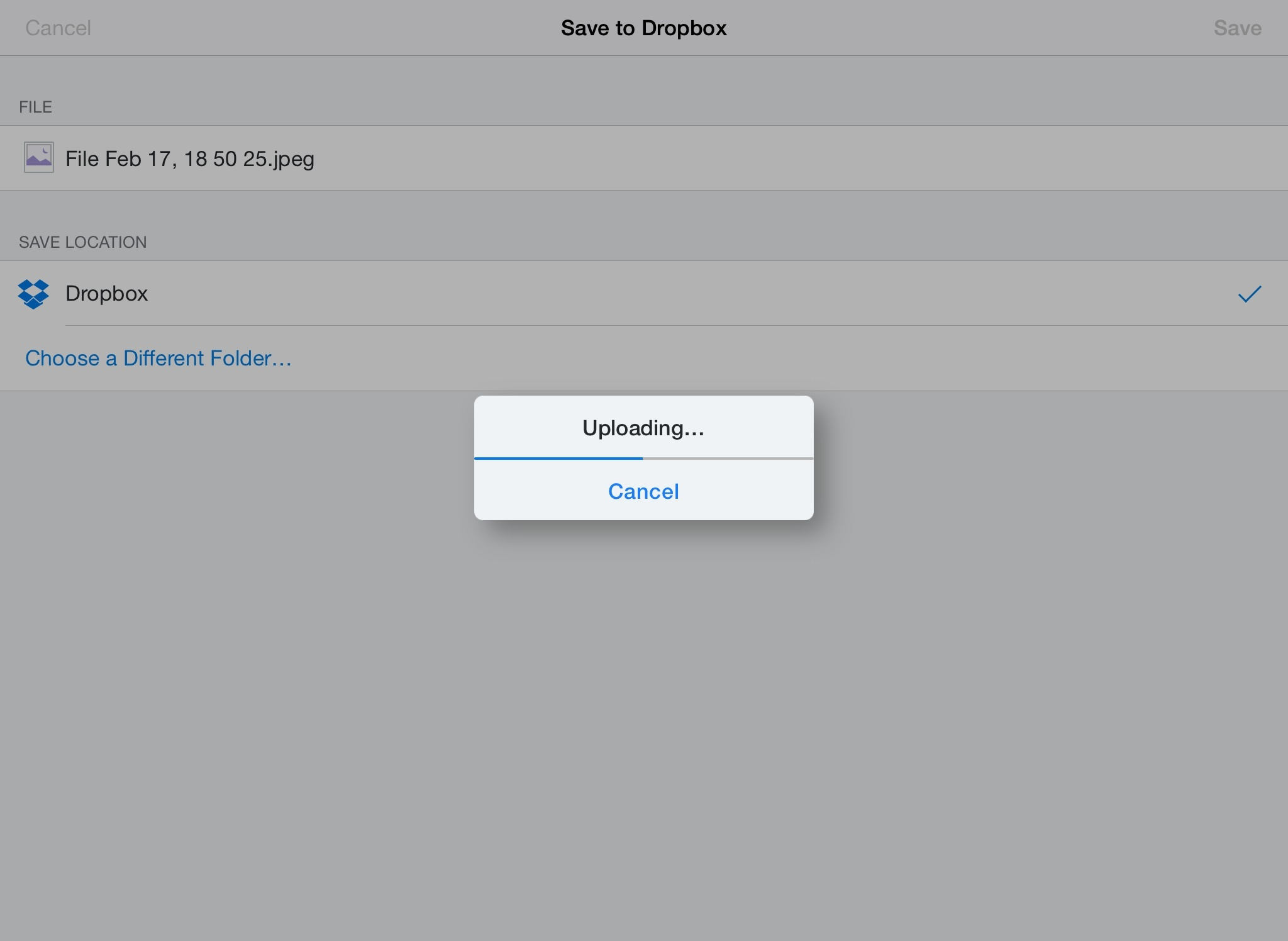 The new Dropbox extension in action.