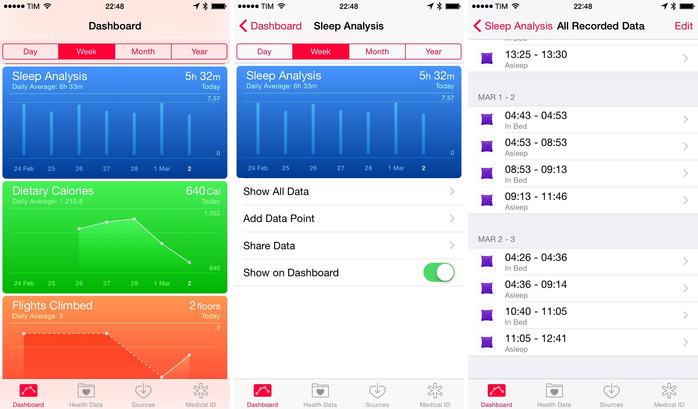 Sleep data in Apple's Health app.