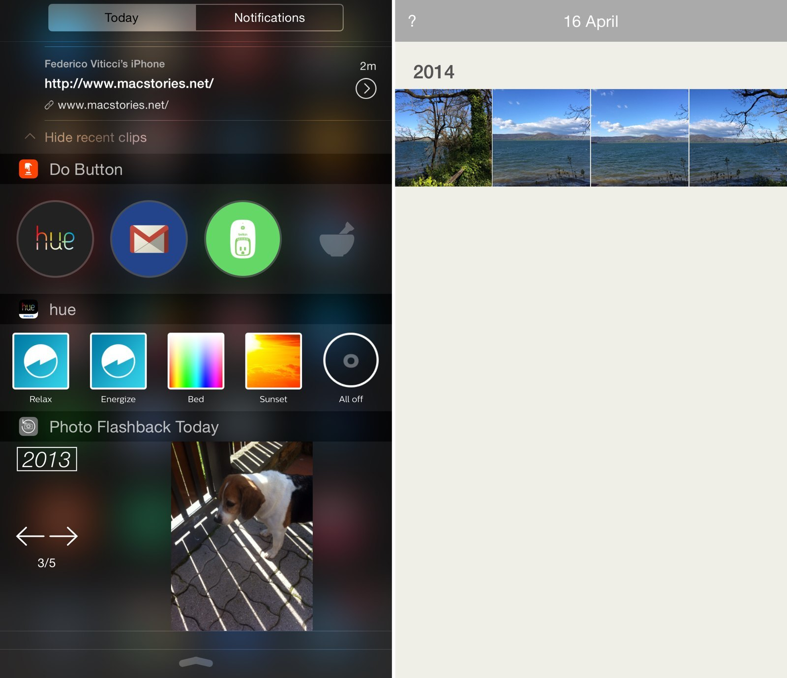 Pictured above: Clips, Do Button, Hue, and Photo Flashbacks widgets.