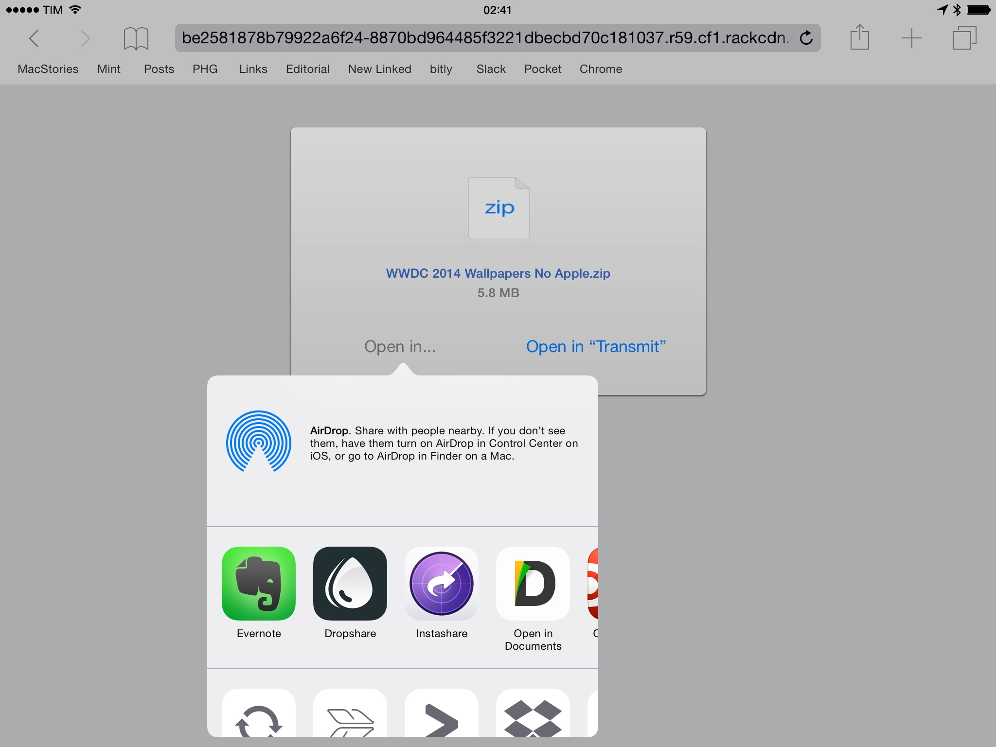 Safari's download interface. Extensions can be run for files.
