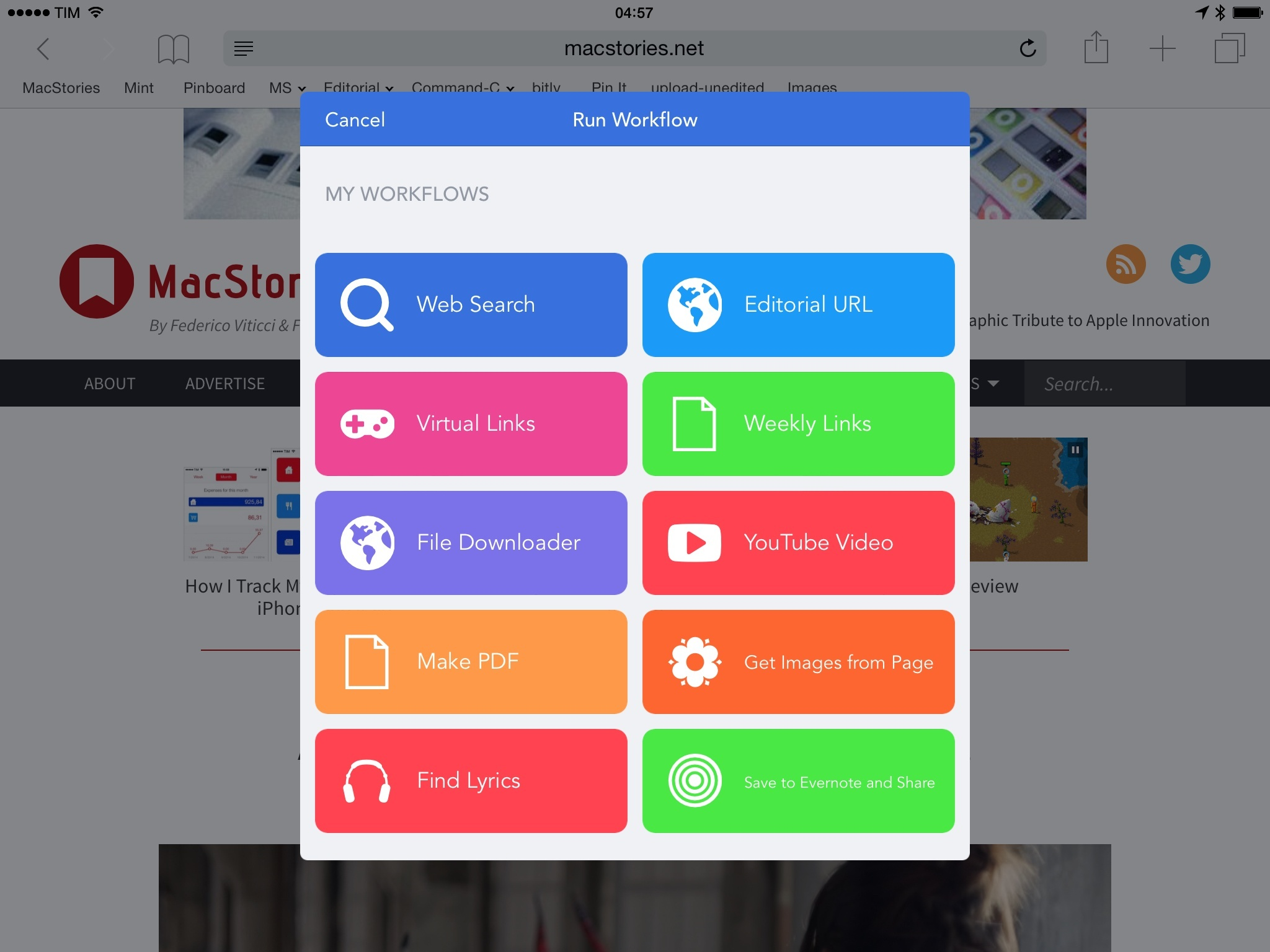 The Workflow action extension lets you pick workflows to run in other apps.